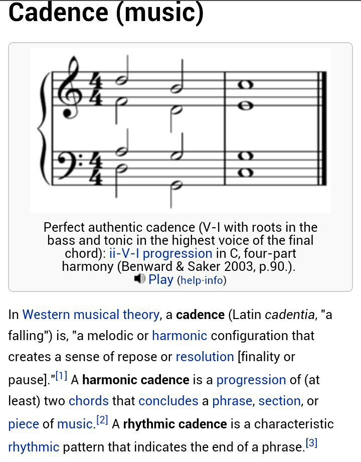 Example of a Cadence courtesy of Wikipedia